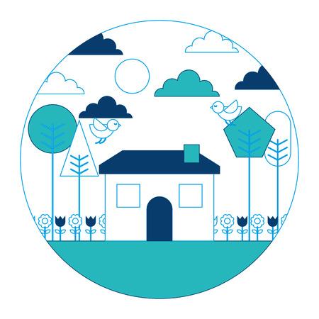 Landscape house tree bird flowers spring season round design vector illustration blue and green image Illustration
