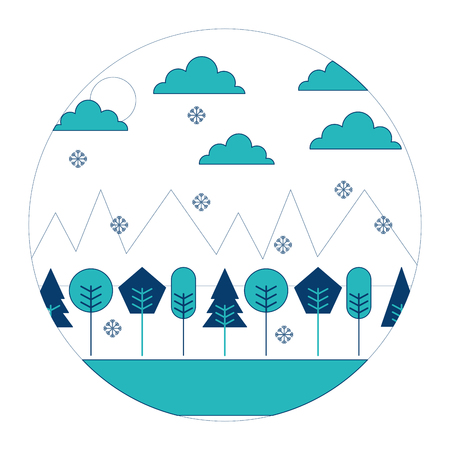 Landscape winter season snow mountains forest sun clouds round design vector illustration blue and green image Illustration
