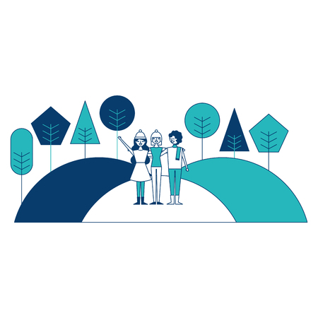 People friends standing in hills natural trees landscape vector illustration blue and green image