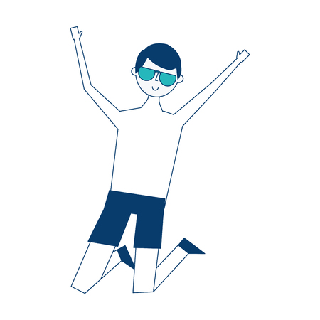 Young jumping man wearing short and sunglasses vector illustration blue and green image