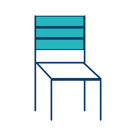Wooden chair furniture outdoors decoration vector illustration blue and green image