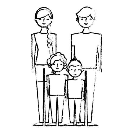 Happy family cartoon vector illustration sketch image