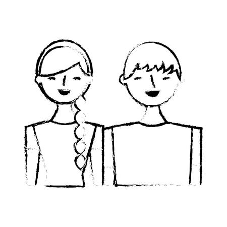 Smiling couple vector illustration sketch image