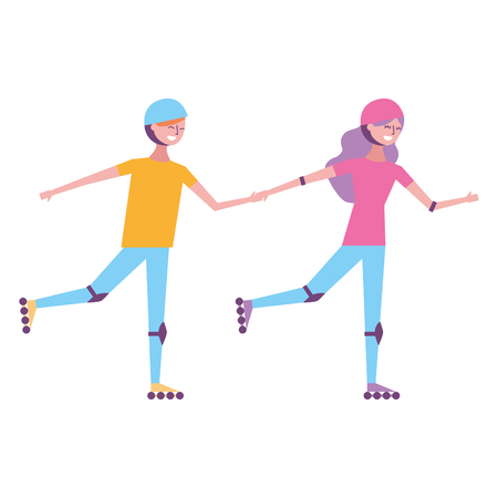 Happy couple on roller skating sport activity vector illustration
