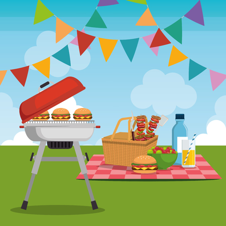 picnic party celebration scene vector illustration design Ilustração