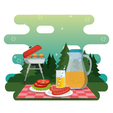 picnic party celebration scene vector illustration design 向量圖像