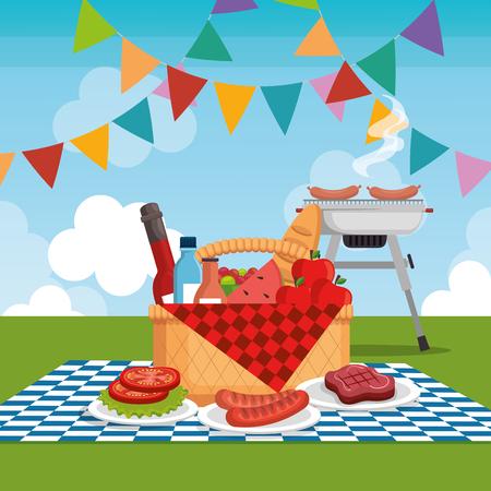picnic party celebration scene vector illustration design Illustration