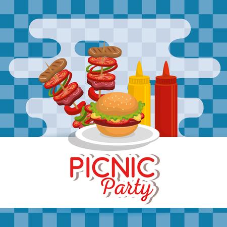 Picnic party invitation set icons vector illustration design Ilustração