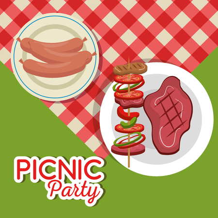 Picnic party invitation set icons vector illustration design 일러스트