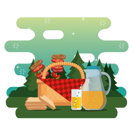 picnic party celebration scene vector illustration design Ilustração