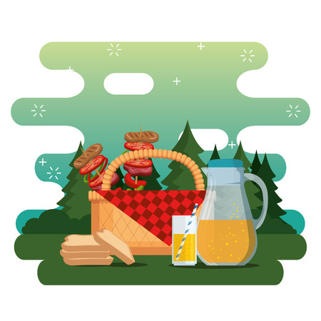 picnic party celebration scene vector illustration design Illustration