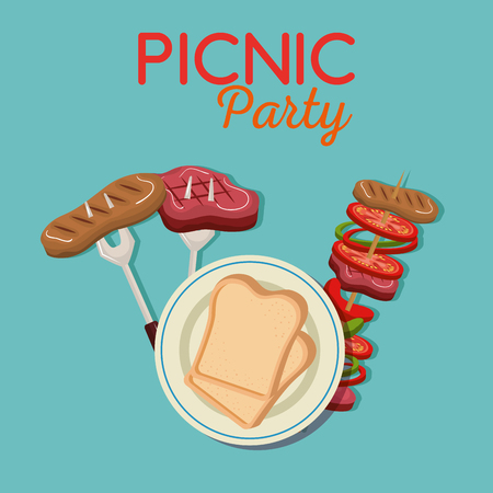 picnic party invitation set icons vector illustration design Stock Illustratie