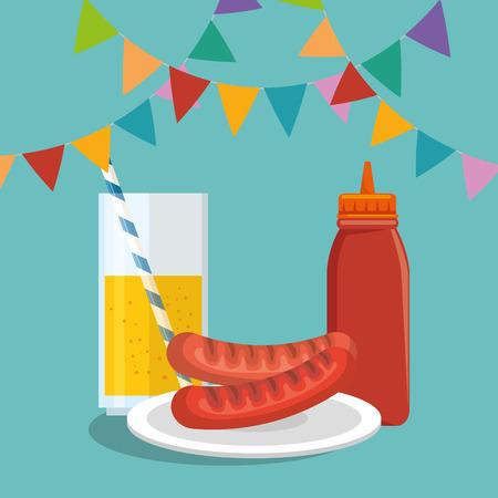 ピクニックパーティー招待状セットアイコンベクトルイラストデザイン