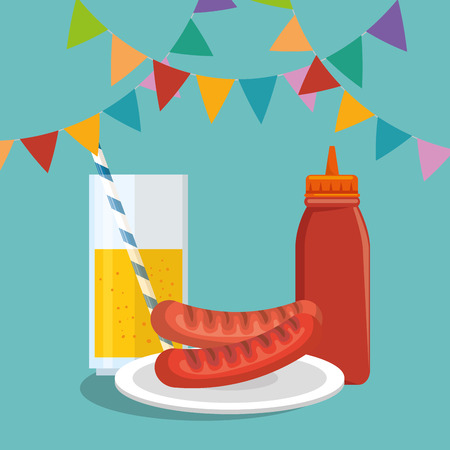 picnic party invitation set icons vector illustration design Vettoriali