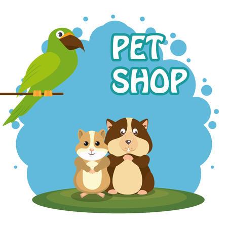 cute mascots pet shop icons vector illustration design