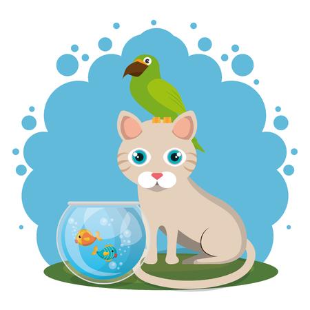 cute mascots pet shop icons vector illustration design