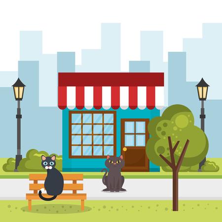 cute dogs in the park scene vector illustration design Standard-Bild - 97474477