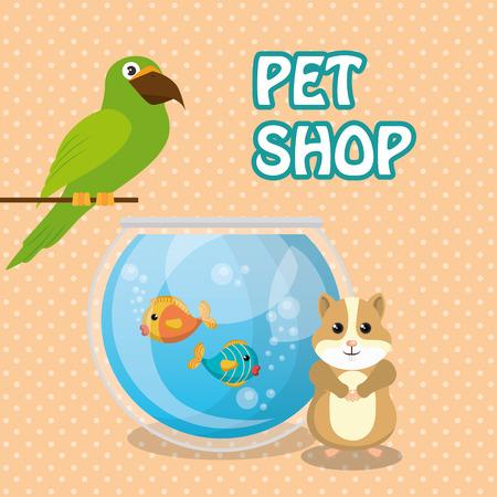 Mignon oiseau et écureuil animaux magasin icônes illustration vectorielle design Banque d'images - 97475391