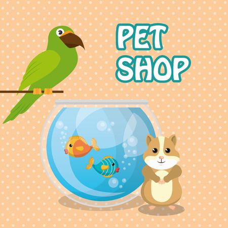 Cute bird and squirrel pet shop icons vector illustration design