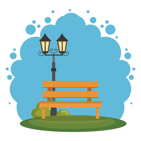 park scene landscape icon vector illustration design Çizim