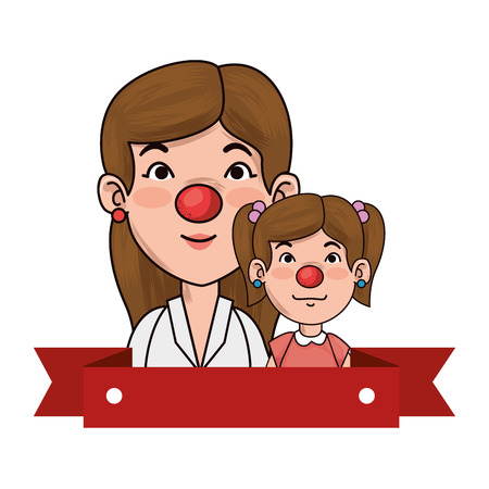 Mother and daughter with clown nose character illustration design