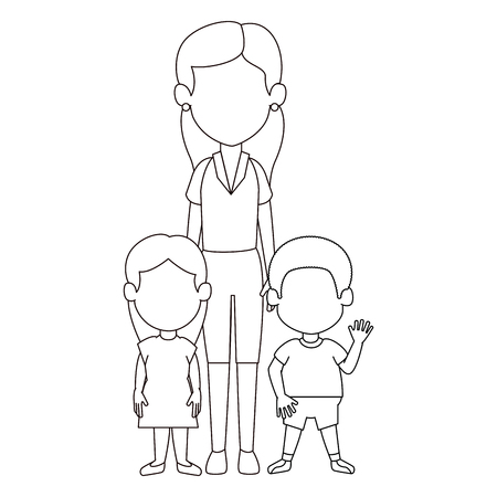 mom with son and daughter avatar characters vector illustration design