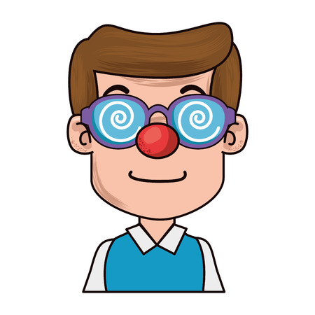 man with clown nose vector illustration design Illustration