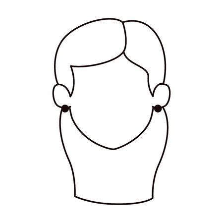 woman adult head avatar character vector illustration design