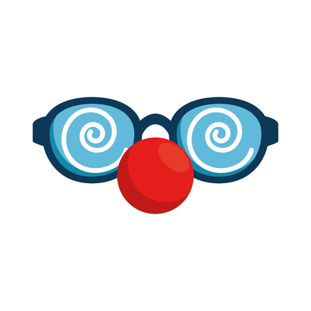 Glasses and clown nose accessory vector illustration design Çizim