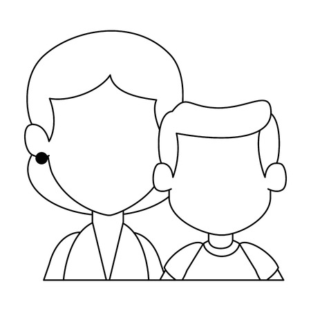 Mom with son avatar characters vector illustration design Vettoriali