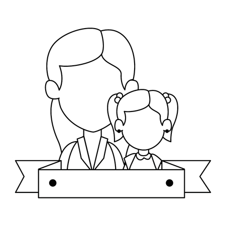 Mom with daughter avatar characters vector illustration design