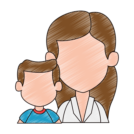 mom with son avatar characters vector illustration design 일러스트