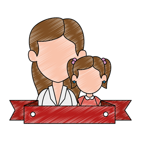 mom with daughter avatar characters vector illustration design 일러스트
