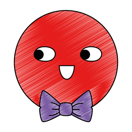 emoticon face with elegant bowtie character vector illustration design