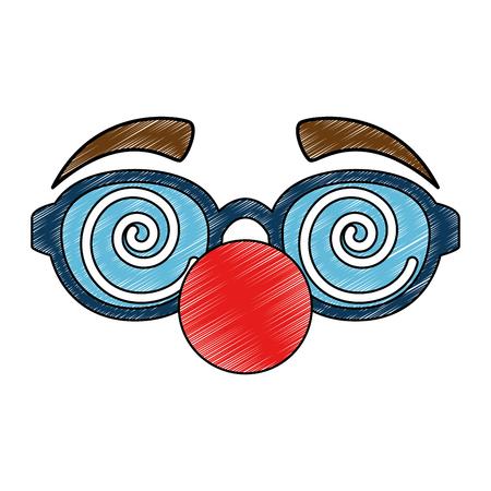 glasses and clown nose accessory vector illustration design