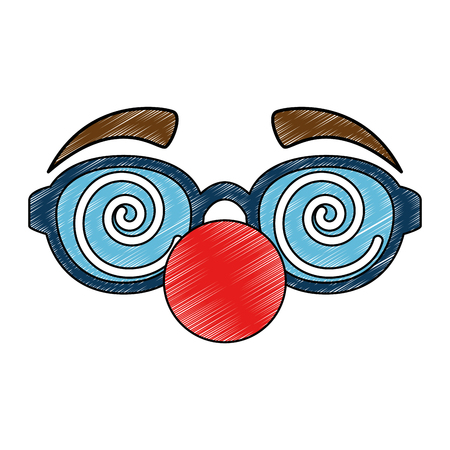 glasses and clown nose accessory vector illustration design