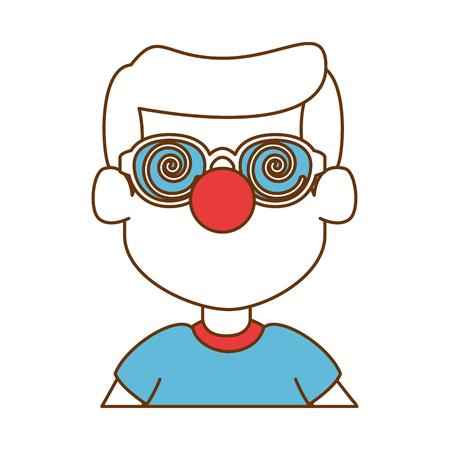 Little boy with clown nose  illustration design