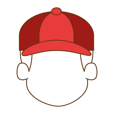 Happy little boy head character illustration design Illustration