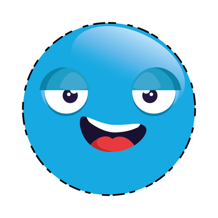 Emoticon face cute character vector illustration design.