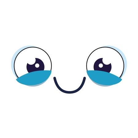 Emoticongesicht kawaii Charaktervektor-Illustrationsdesign Standard-Bild - 97485355