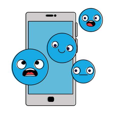Smartphone device with emoticons faces vector illustration design.