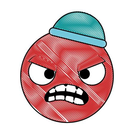emoticon circular face kawaii character vector illustration design Illustration