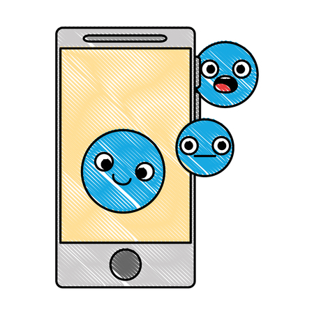 Smartphone device with emoticons faces, vector illustration design