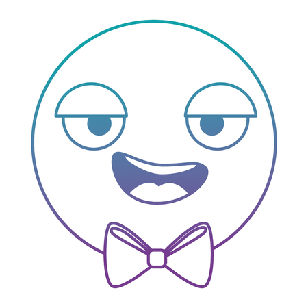 Emoticon circular face, kawaii character vector illustration design