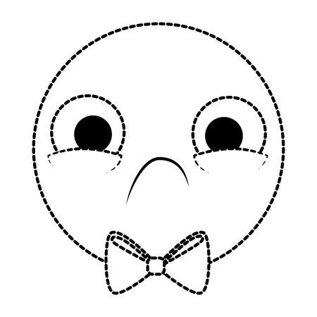 Emoticon circular frowning face, kawaii character vector illustration design Çizim