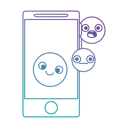 Smartphone device with emoticon faces, vector illustration design Ilustracja