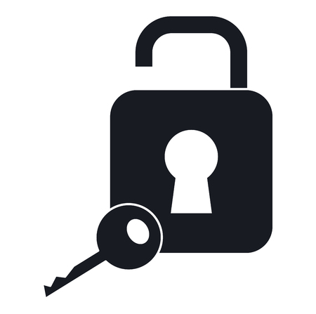 safe secure padlock with key vector illustration design Фото со стока - 97500733