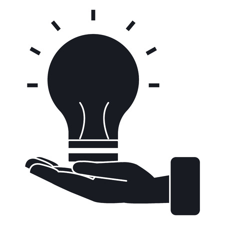 hand with bulb light isolated icon vector illustration design