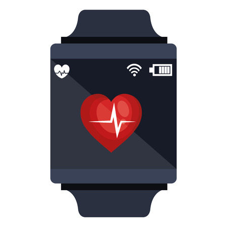 Smartwatch avec cardiologie app illustration vectorielle conception Banque d'images - 97510321