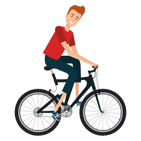 young man in bicycle vector illustration design
